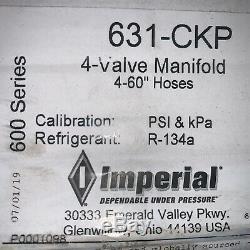 IMPERIAL 631CKP R134a Mechanical Manifold Gauge Set, 4-Valve, (4) 60 Hoses USA