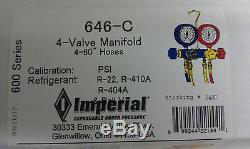 Imperial, 4-Valve Manifold, R22, R410A, R404A, 60 Hose Set withBall Valve Hose End
