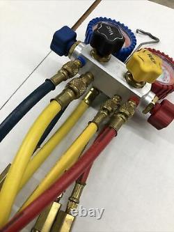 Imperial 4-Valve Mechanical Manifold Gauge Set with Hoses HVAC A/C