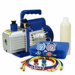 Kit of 3,5 CFM 1/4HP Air Vacuum Pump HVAC R134A Manifold Gauge Set