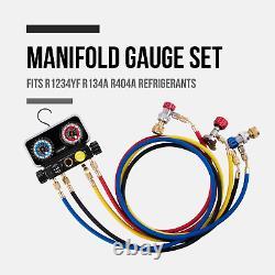 Lichamp AC R1234YF R134A Gauge Set Automotive 4 Valve Manifold Gauge Compatib