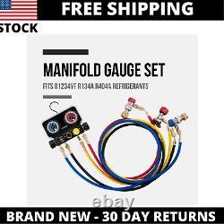 Lichamp AC R1234YF R134A Gauge Set Automotive 4 Valve Manifold Gauge Compatible