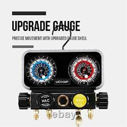 Lichamp AC R1234YF R134A Gauge Set, Automotive 4 Valve Manifold Gauge Compatible