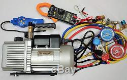 LotHVAC Tool Kit SetDeep Vacuum Pump+Clamp Meter+Leak Detector+Manifold Gauge
