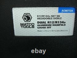 MATCO TOOLS DUAL R12/R134a ALUMINUM MANIFOLD GAUGE SET WITH 72 HOSES-AC98772A