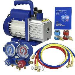 Manifold Gauge Set Combo Air Vacuum Pump HVAC Refrigeration KIT A/C 4CFM 1/3 HP