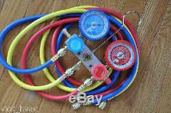 Manifold gauge set+5ft hose set+Halogen Refrigerant Leak Detector Sensor