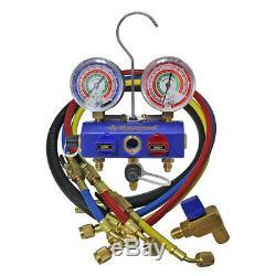 Mastercool 57461 3-Way Ball Valve Manifold Set 2 1/2 Gauges 60 hoses