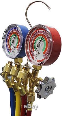 Mastercool 59161 Brass R410A, R22, R404A 2-Way Manifold Gauge Set With 3-1/8 Inc