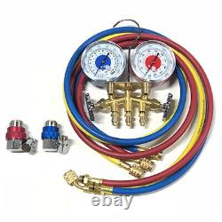 Mastercool 83161 R134a 2-Way Brass Manifold Gauge Set with3-60 hoses