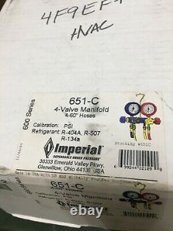 New Imperial 651-C 4-Valve Mechanical Manifold Gauge Set with Hoses HVAC A/C