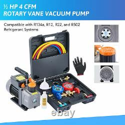 OMT 1/3HP 4CFM AC Manifold Gauge Set and Vacuum Pump Kit with 3 Hoses 2 Adapters