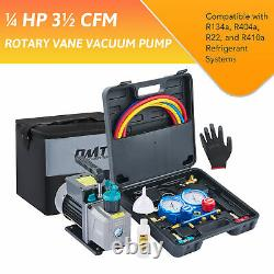 OMT 1/4hp HVAC Vacuum Pump Kit A/C Manifold Gauge Set for R410a R134a R22 R404a
