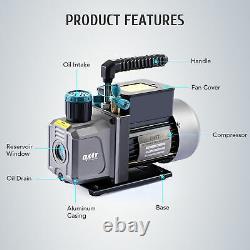 OMT 3.5cfm HVAC Vacuum Pump Kit & A/C Manifold Gauge Set for 134a 22 404a & 410a