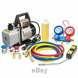 Premium Vacuum Pumps 4CFM Air HVAC A/C Refrigeration Kit Manifold Gauge Case Set