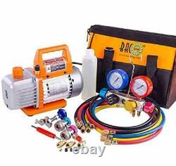 Professional Vacuum Pump & Manifold Gauge Set HVAC A/C Refrigeration Kit