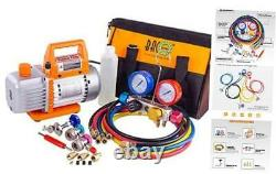 Professional Vacuum Pump & Manifold Gauge Set HVAC A/C Refrigeration Kit Di