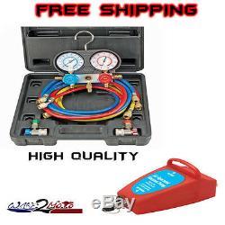 R134A AC A/C Manifold Gauge Set Air Conditioner & Air Vacuum Pump R12 R 134A 22