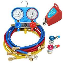 R134A AC A/C Manifold Gauge Set with Hoses and Air Vacuum Pump R134A R12