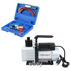 R134A R410A Manifold Gauge Set Kit Refrigerant+ 5CFM 1/3HP Electric Vacuum Pump