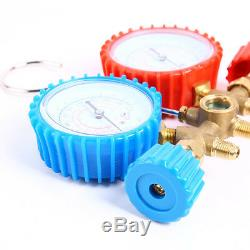 R134a R12 R22 R502 Manifold Gauge Set HVAC AC Refrigerant with 2.7ft Charging Hose