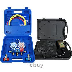 R134a R410a R22 Electronic Digital Refrigerant Scale+Deluxe Manifold Gauge Set