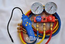 R410a+Manifold Gauge Set+5ft hose+Halogen Refrigerant Leak Detector+Sensor HVAC