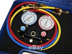 Refrigeration 4 Way 36 Gauge Manifold Set R134a R22 & Shutoff Rg2244 Ch2244