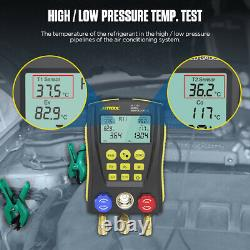Refrigeration Digital Manifold Gauge HVAC Vacuum Temperature Pressure Tester Set