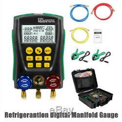 Refrigeration Digital Manifold Gauge Meter HVAC Vacuum Pressure Temp Tester Set