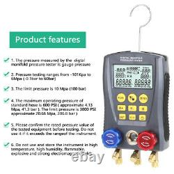 Refrigeration Digital Manifold HVAC Gauge Set Pressure TempVacuum Tester J7Z8