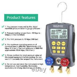 Refrigeration Digital Manifold HVAC Gauge Set Pressure TempVacuum Tester US C9Y8