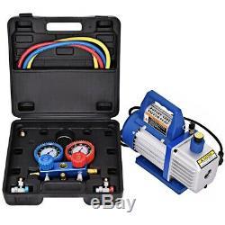 Refrigeration Kit AC Manifold Gauge Set Air Vacuum Pump HVAC 1/3HP R134 4CFM