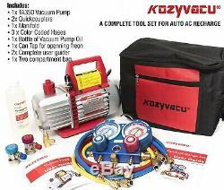 Repair Complete Tool with 1-Stage 3.5CFM Vacuum Pump, Manifold Gauge Set, Hoses