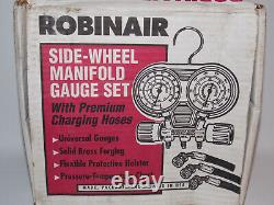 Robinair 41670 Side Wheel Universal Manifold Gauge Set + Premium Charging Hoses