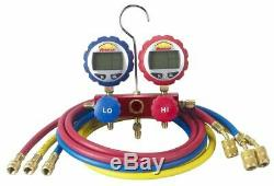 Robinair 43186 Aluminum 2-Way Manifold Digital Gauge Set withHoses for use with 17