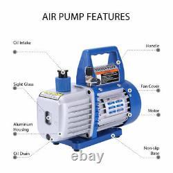 VIVOHOME 1/4HP 3.5CFM Rotary Vane Air Vacuum Pump & R134a AC Manifold Gauge Set
