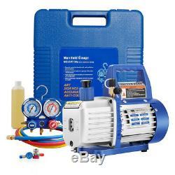 VIVOHOME 3.5CFM 1/4HP Air Vacuum Pump HVAC Refrigerant Kit AC Manifold Gauge Set