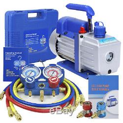 Vacuum Pump 4CFM VALVES MANIFOLD GAUGE R410A R134A R22 HVAC AC Refrigerant Set