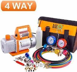 Vacuum Pump Manifold Gauge Set 4 Valve HVAC A/C Refrigeration Kit With Case