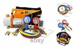 Vacuum Pump & Manifold Gauge Set HVAC A/C Refrigeration Kit Diagnostic R12