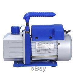 Vacuum Pump VALVES MANIFOLD GAUGE R410A R134A R22 HVAC AC 4CFM Refrigerant Set