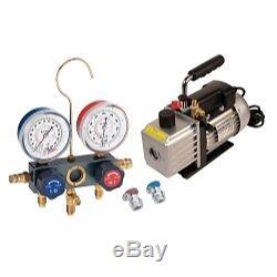 Vacuum Pump and Aluminum Block Manifold Gauge Set with Manual Couplers FJCKIT6M