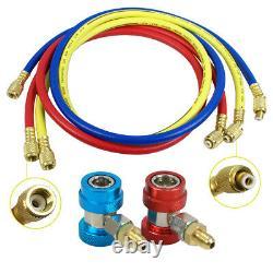 Way Manifold 53 Vacuum Gauge Set R134a R410a R22 A/C AC HVAC Refrigeration KIT