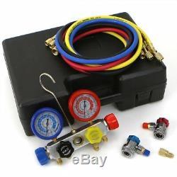 XtremepowerUS 4 Way AC Manifold Gauge Set R410A R22 R134A HVAC Diagnostic Tool