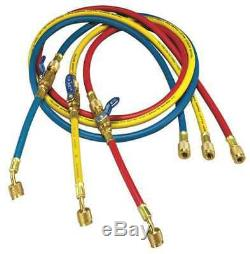 YELLOW JACKET 25986 Manifold Hose Set, 72 In, Red, Yellow, Blue