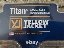YELLOW JACKET 49983 Mechanical Manifold Gauge Set, 4-Valve
