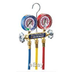 YELLOW JACKET Forged Brass Mechanical Manifold Gauge Set, 2-Valve, 42024
