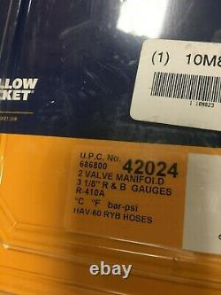 Yellow Jacket 42024 Mechanical Manifold Gauge Set, 2-Valve NEW